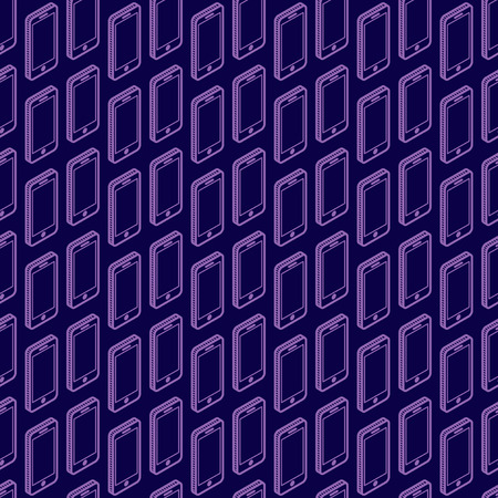 abstract seamless pattern with isometric phone signs Vector