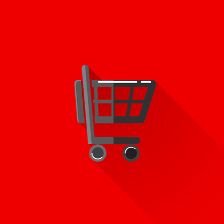 e retailers: vintage illustration of a shopping cart in flat style with long shadow