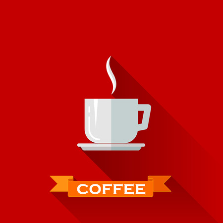 illustration with coffee cup icon in flat design style with long shadows