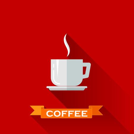 tazza di te: illustrazione con l'icona della tazza di caffè in stile design piatto con lunghe ombre Vettoriali