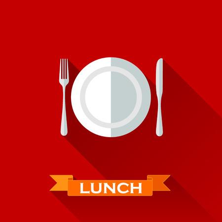Ilustración con un plato y cubiertos en estilo de diseño plano con largas sombras. Concepto de la hora del almuerzo