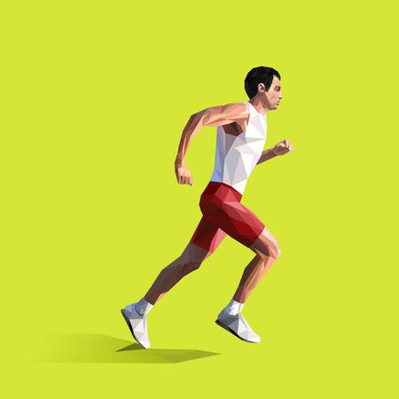 polygonal running man. geometric illustration