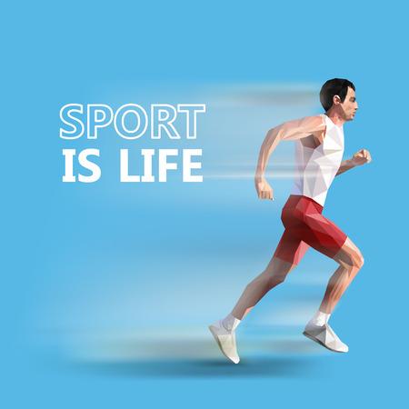 polygonal running man.  Illustration