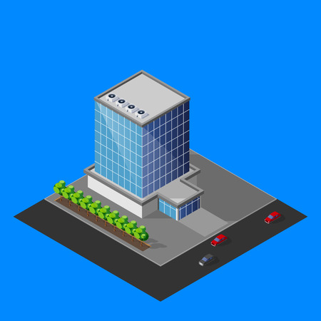 illustration of isometric business center building Vector