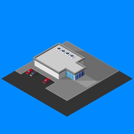 awnings: illustration of isometric supermarket building Illustration