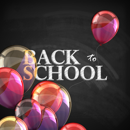 multicolored background: back to school. educational illustration with blackboard texture and flying multicolored transparent balloons