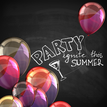 ignite this summer party. holiday illustration with flying multicolored balloons and blackboard texture Vector