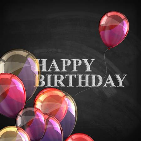 cartel colorido con globos y cartas de tiza en fondo de la pizarra. feliz cumpleaños Ilustración de vector