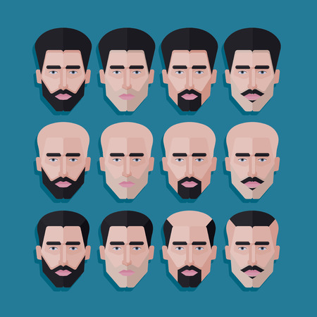 men hair style: vector set of male faces in flat polygonal style. men hair style icons