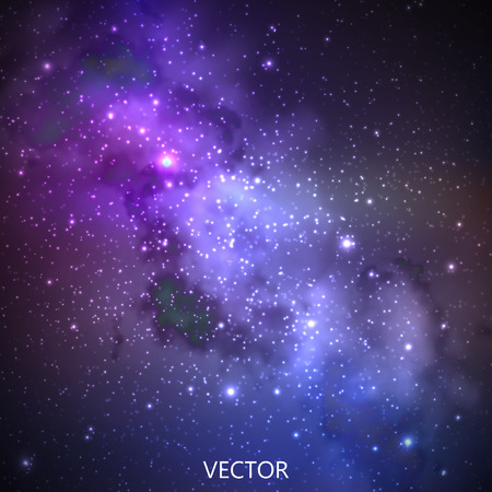 bright space: abstract vector background with night sky and stars. illustration of outer space and Milky Way