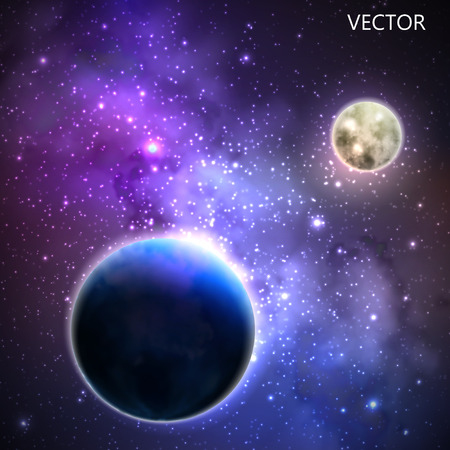 observation: abstract vector background with night sky and stars. illustration of outer space and Milky Way