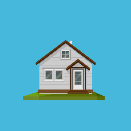 small town life: Illustration of a cartoon house in in flat polygonal style