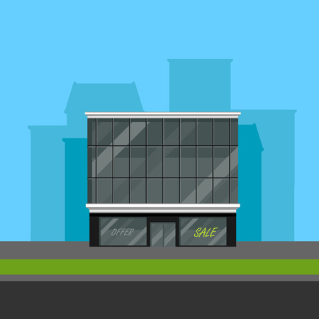 store window: vector illustration of business center or shopping mall in flat polygonal style