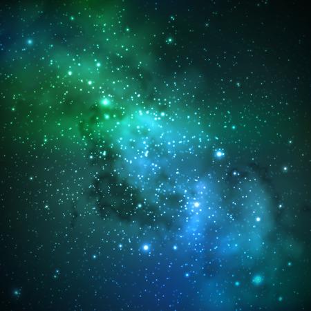 abstrakte Vektor-Hintergrund mit Nachthimmel und Sternen. Illustration des Weltraums und Milky Way