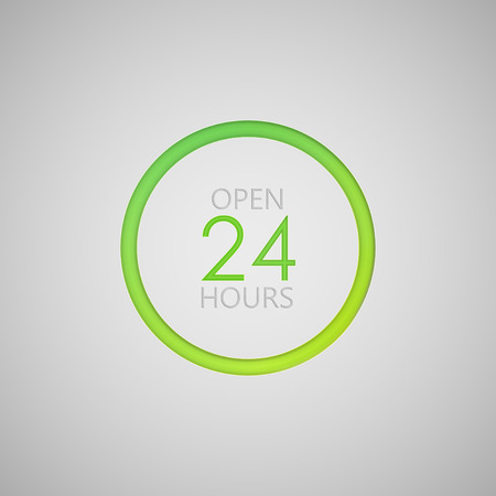 24 hours: open 24 hours a day icon. neon sign Illustration