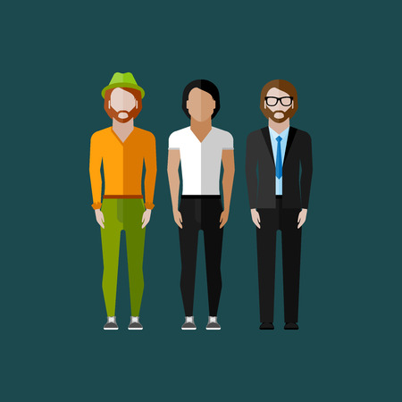 scandinavian people: men fashion style. illustration in flat style Illustration