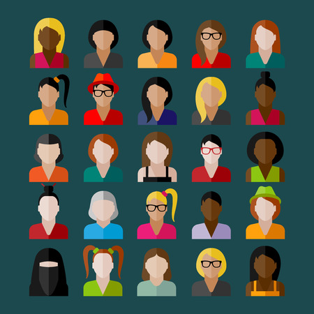 appearance: women appearance icons. people flat icons collection