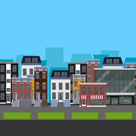 Flat design urban landscape. illustration of a street with different buildings Vector