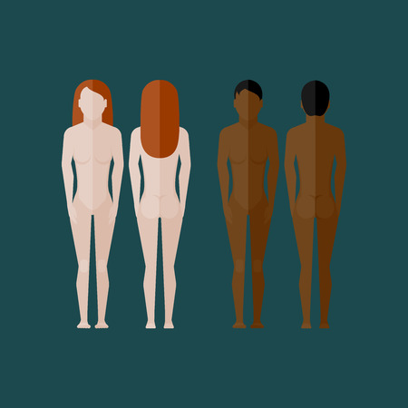 cuerpos desnudos: ilustración con el cuerpo desnudo mujeres (vista frontal y posterior) en estilo plano Vectores