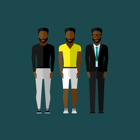 african businessman: men fashion style. illustration in flat style Illustration