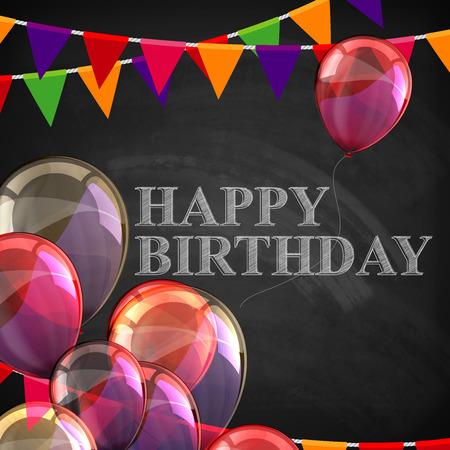kleurrijke poster met ballonnen, vlaggen en krijt letters op schoolbord achtergrond. fijne verjaardag