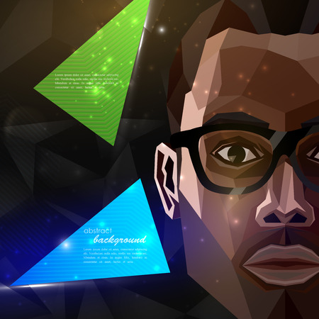 Illustration mit einem African American Mann Gesicht in polygonalen Stil. moderne Plakat oder Flyer mit Mode, Beauty oder Entertainment-Konzept