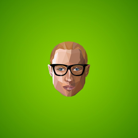 illustration with an caucasian guy face in polygonal style Illustration
