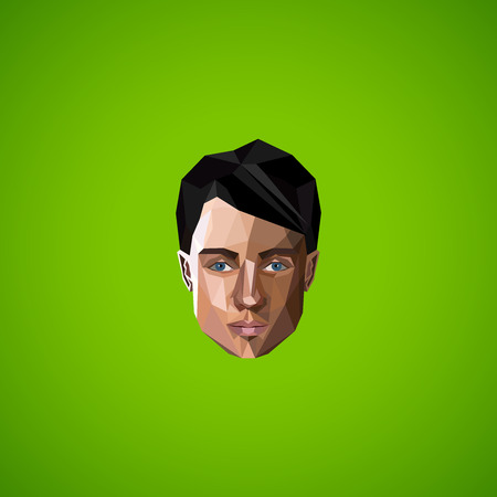 illustration with caucasian man face in low-polygonal style. beauty or fashion icon