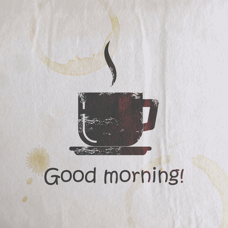 good morning: vector illustration with scratched coffee cup on old wrinkled paper texture. good morning