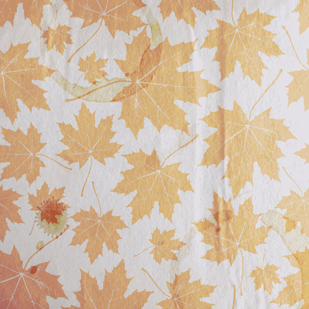 wrinkled paper: vintage floral autumn (fall) background with maple leaves on the old wrinkled paper texture