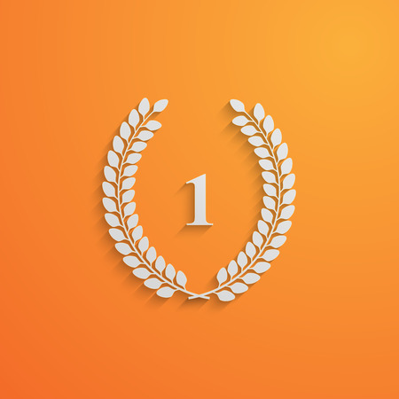 1 place: vector illustration with laurel wreath.3d paper design with long shadow. 1 place