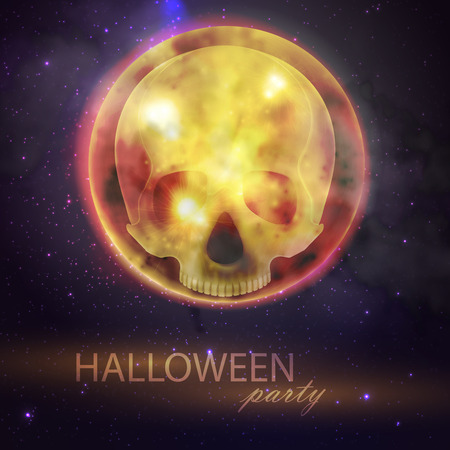 dreadful: Halloween vector illustration with full moon and skull on the night sky background. party flyer design