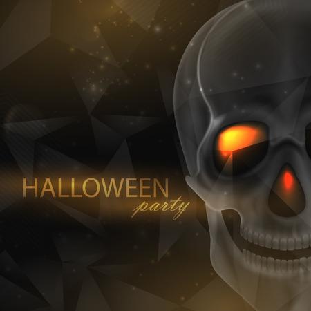 wicked: Vector halloween illustration of an evil skull on geometric polygonal background