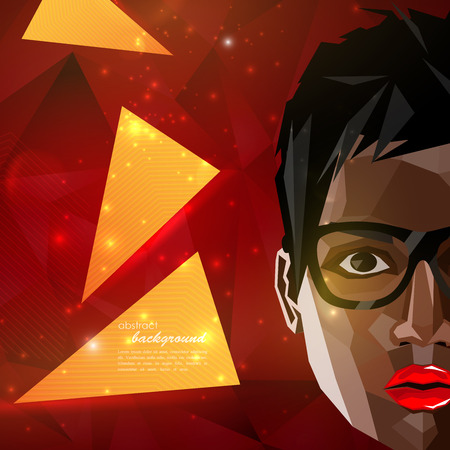 illustration with a black (african american) woman face in polygonal style. modern poster with fashion, beauty or entertainment concept