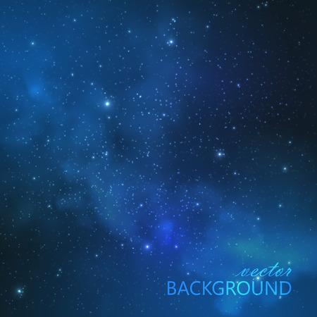 noche: vector de fondo abstracto con el cielo nocturno y las estrellas. ilustración del espacio exterior y de la Vía Láctea