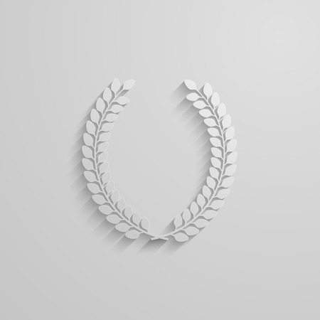 vector illustration with laurel wreath. 3d paper design with long shadow Vector