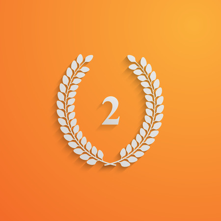 vector illustration with laurel wreath.3d paper design with long shadow. 2 place Vector