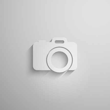 vector illustration of a paper 3d camera with long shadow Vector