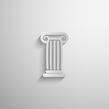 vector illustration of paper 3d ancient column icon with long shadow Vector