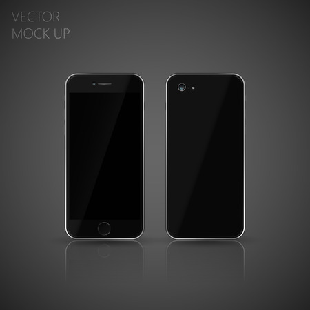 Vector mock up phone for your design. illustration of front and back phone sides Illustration