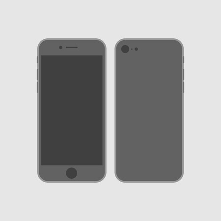 Vector mock up phone for your flat design. illustration of front and back phone sides