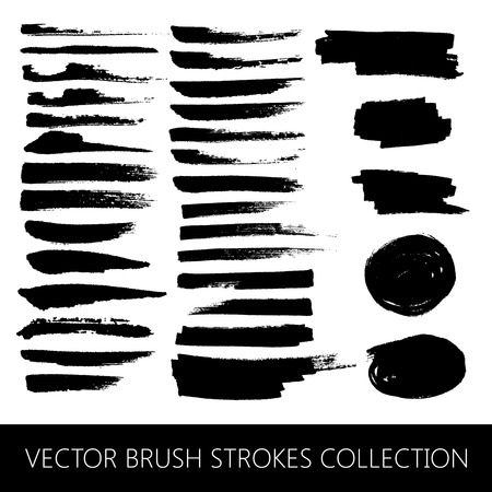 vector collection of brush strokes and marker stains  イラスト・ベクター素材