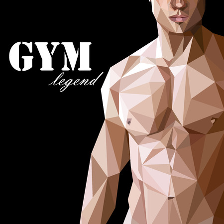 nude male: illustration with caucasian or asian man muscle body in low-polygonal style. gym advertise flyer or sport (fitness) poster