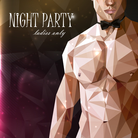 naked male: vector illustration of a caucasian or asian man nude fit  body with bow tie  in low-polygonal style. night party show poster. 18+ (for adults) Illustration