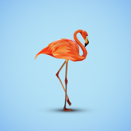 vector illustration of a pink flamingo in low-polygonal style Vector