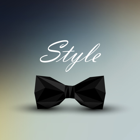 vector illustration of a black bow tie in low-polygonal style. men fashion style concept Vector