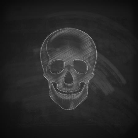 dreadful: vector illustration of a chalk human skull on a blackboard background