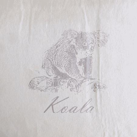 koala bear: vector vintage illustration of a koala bear on the old wrinkled paper texture