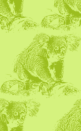 arboreal: vector vintage illustration of a koala bear. seamless animal pattern