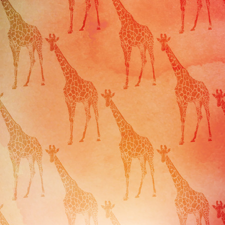 vector vintage illustration of giraffes pattern on the watercolor background Vector